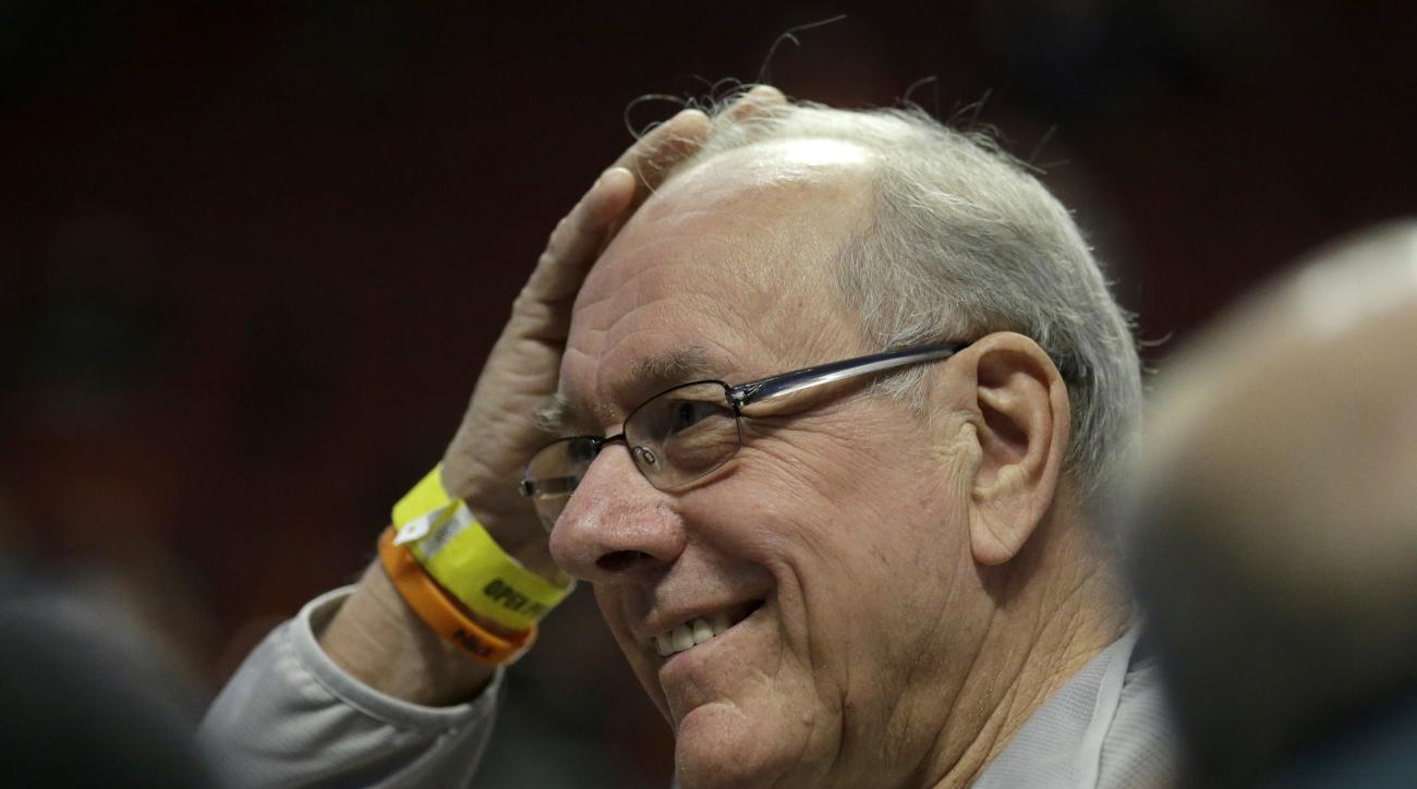 Syracuse's head coach Jim Boeheim smiles as he talks to reporters during college basketball practice, Thursday, March 24, 2016, in Chicago. Syracuse plays against Gonzaga in a regional semifinal game in the NCAA Tournament on Friday. (AP Photo/Nam Y. Huh)