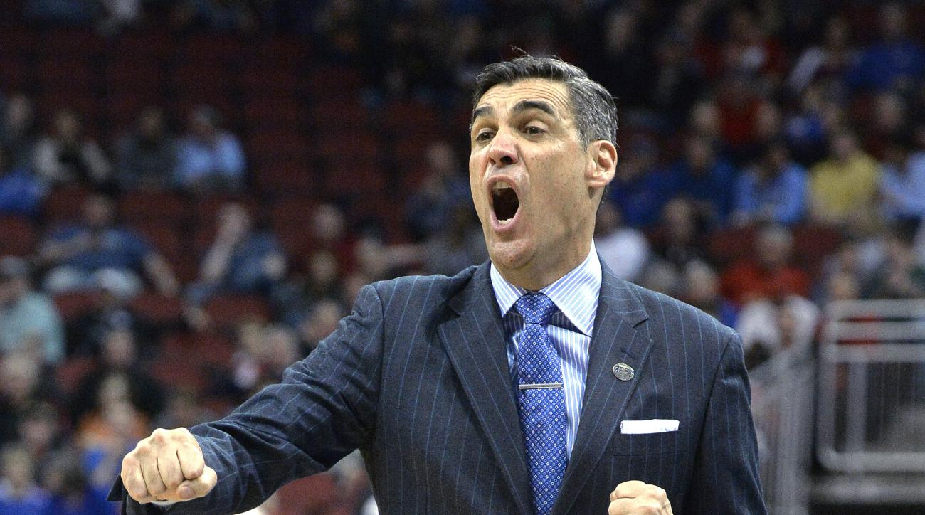 Villanova head coach Jay Wright shouts instructions to his team during the first half of N NCAA college basketball game against Miami in the regional semifinals of the men's NCAA Tournament in Louisville, Ky., Thursday, March 24, 2016. (AP Photo/Timothy D
