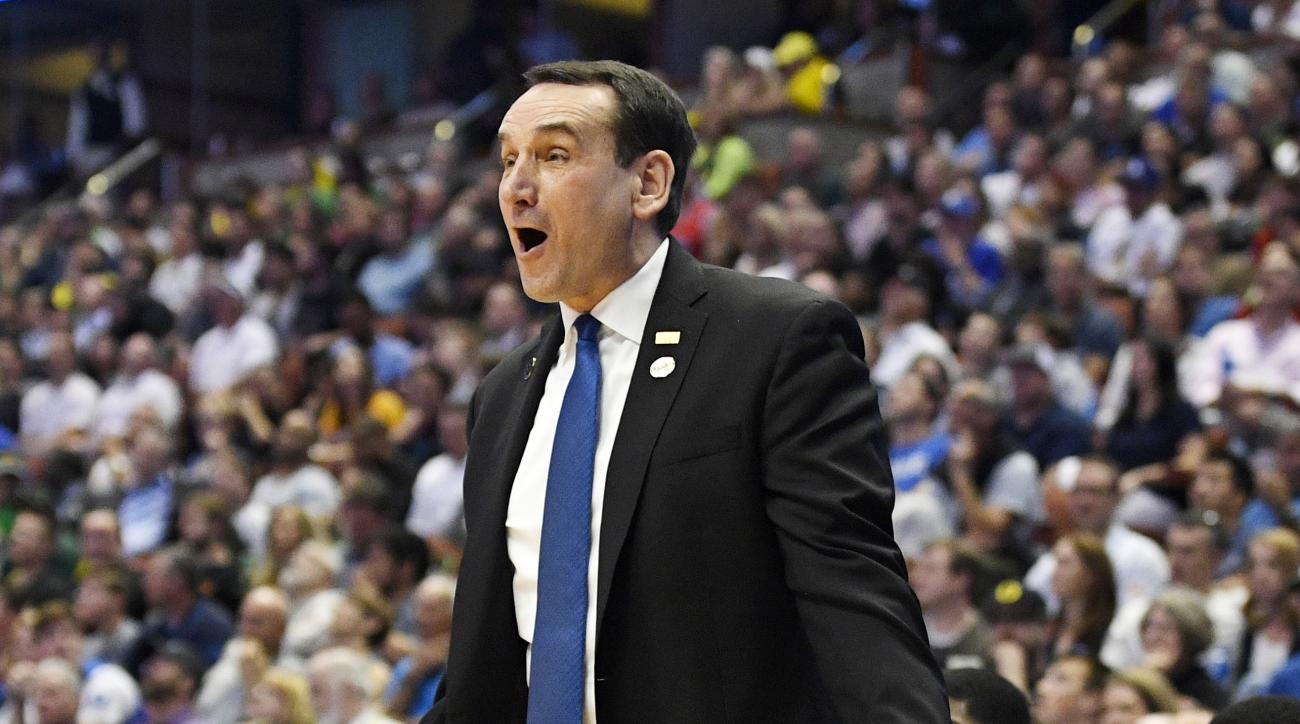 Duke head coach Mike Krzyzewski reacts during the second half of an NCAA college basketball game against Oregon in the regional semifinals of the NCAA Tournament, Thursday, March 24, 2016, in Anaheim, Calif. (AP Photo/Mark J. Terrill)