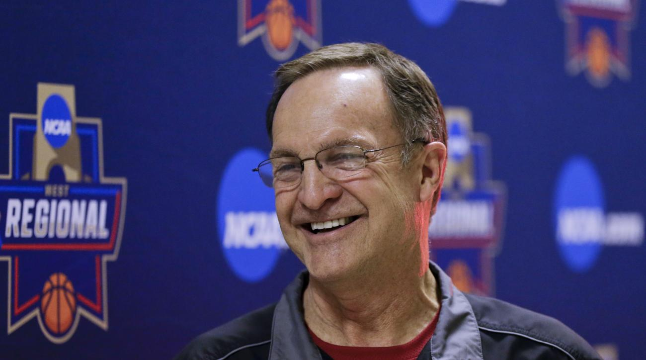 Oklahoma coach Lon Kruger speaks during a news conference about the team's regional final against Oregon on Saturday in the NCAA men's college basketball tournament, Friday, March 25, 2016, in Anaheim, Calif. (AP Photo/Gregory Bull)