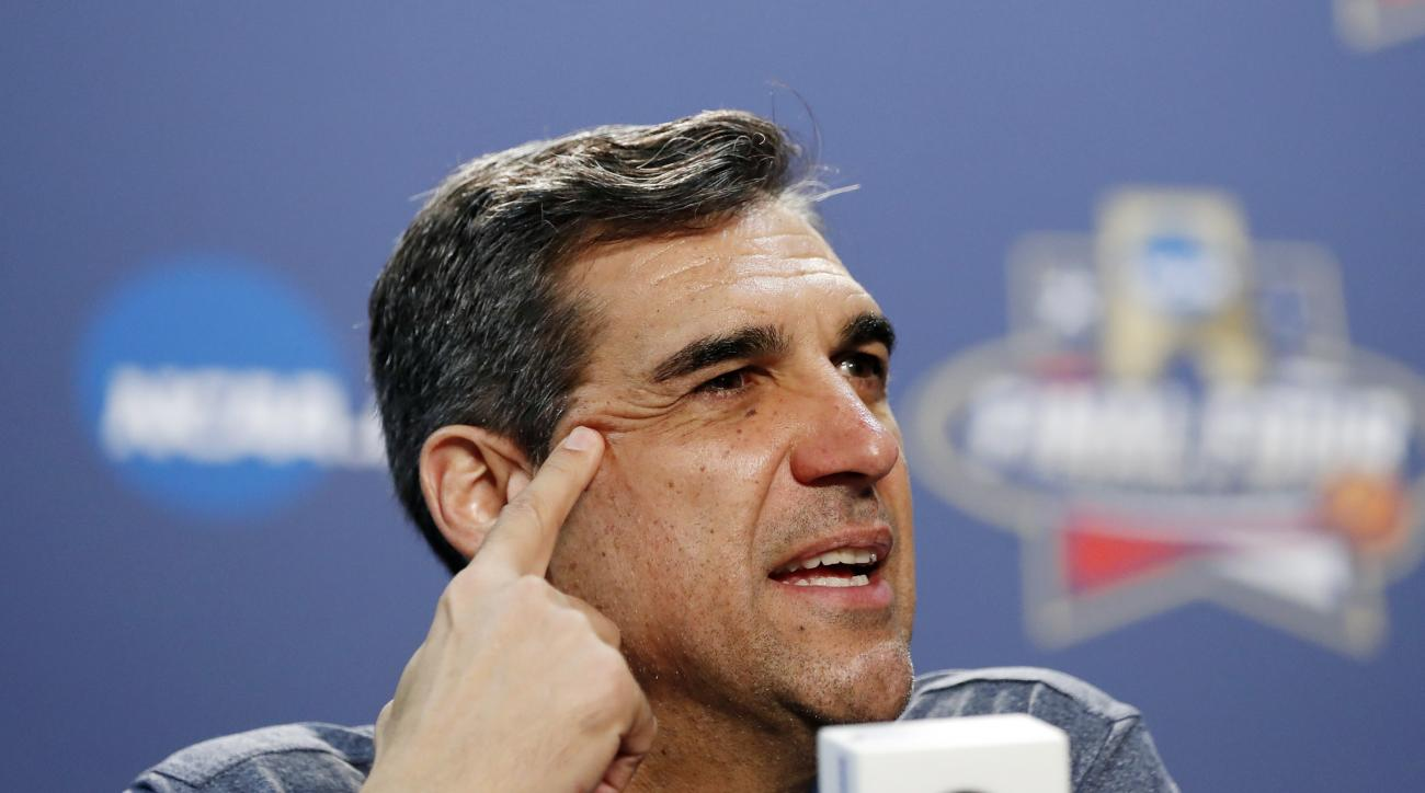 Villanova head coach Jay Wright answers questions during a news conference for the NCAA Final Four college basketball tournament Thursday, March 31, 2016, in Houston. (AP Photo/David J. Phillip)