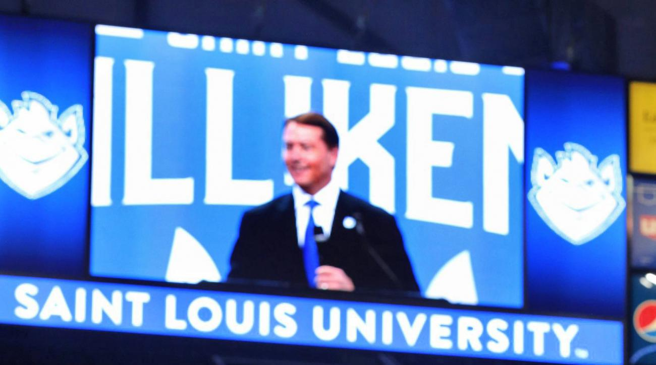 Travis Ford, Saint Louis University's new mens' basketball, speaks during a press conference Thursday, March 31, 2016, at Chaifetz Arena in Saint Louis. Ford, who was fired by Oklahoma State this month after going 155-111 in eight seasons with five NCAA T