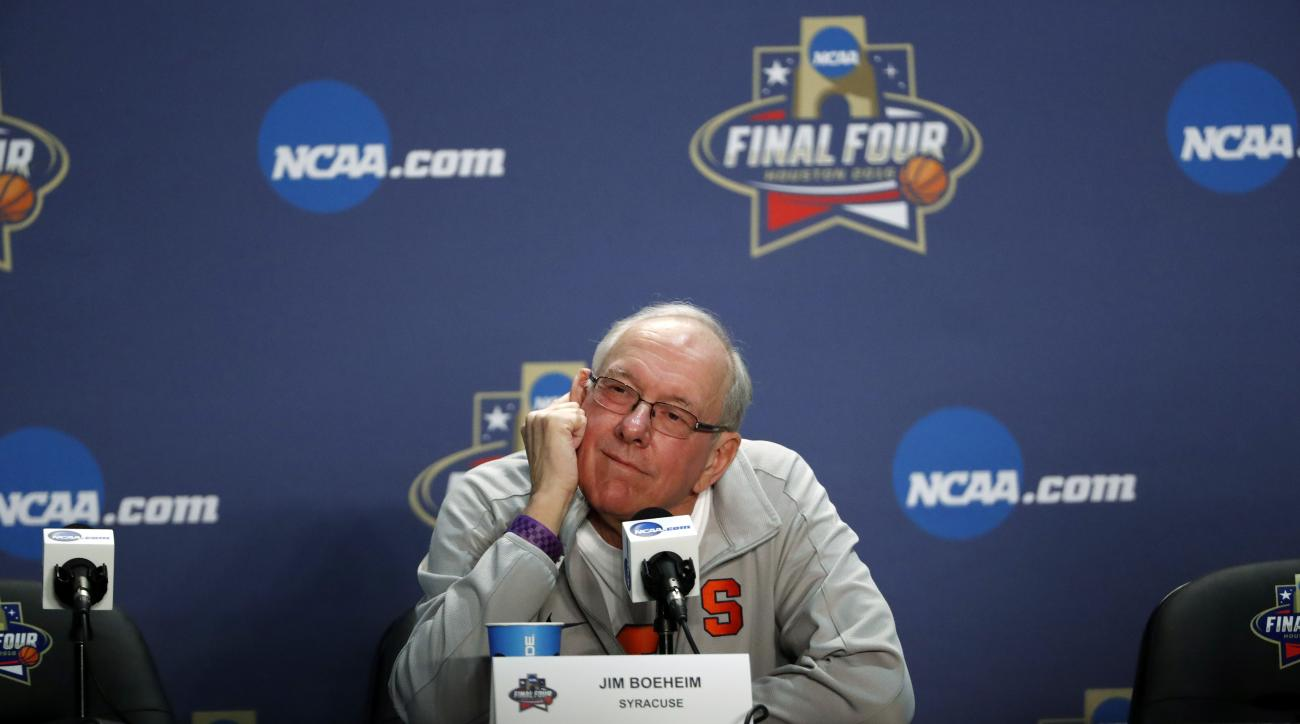 Syracuse head coach Jim Boeheim answers questions at a news conference for the NCAA Final Four college basketball tournament Thursday, March 31, 2016, in Houston. (AP Photo/David J. Phillip)