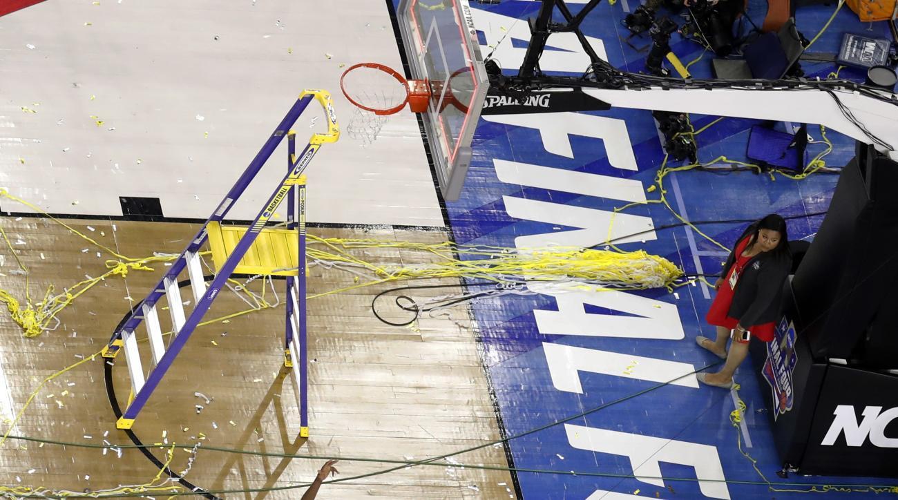 Villanova's Kris Jenkins celebrates after the NCAA Final Four tournament college basketball championship game against North Carolina, Monday, April 4, 2016, in Houston. Villanova won 77-74. (AP Photo/Michael Simmons)