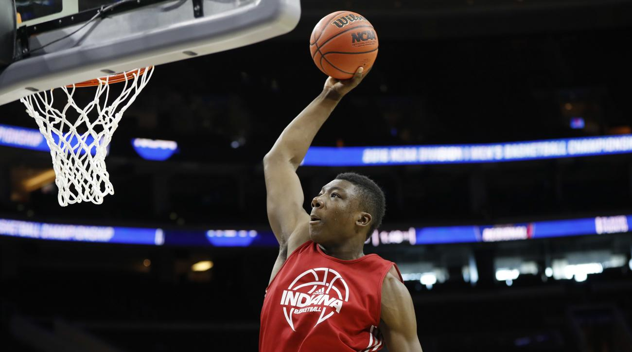 Indiana's Thomas Bryant goes up for a shot during college basketball practice, Thursday, March 24, 2016, in Philadelphia. Indiana plays against North Carolina in a regional semifinal game in the NCAA Tournament on Friday. (AP Photo/Chris Szagola)