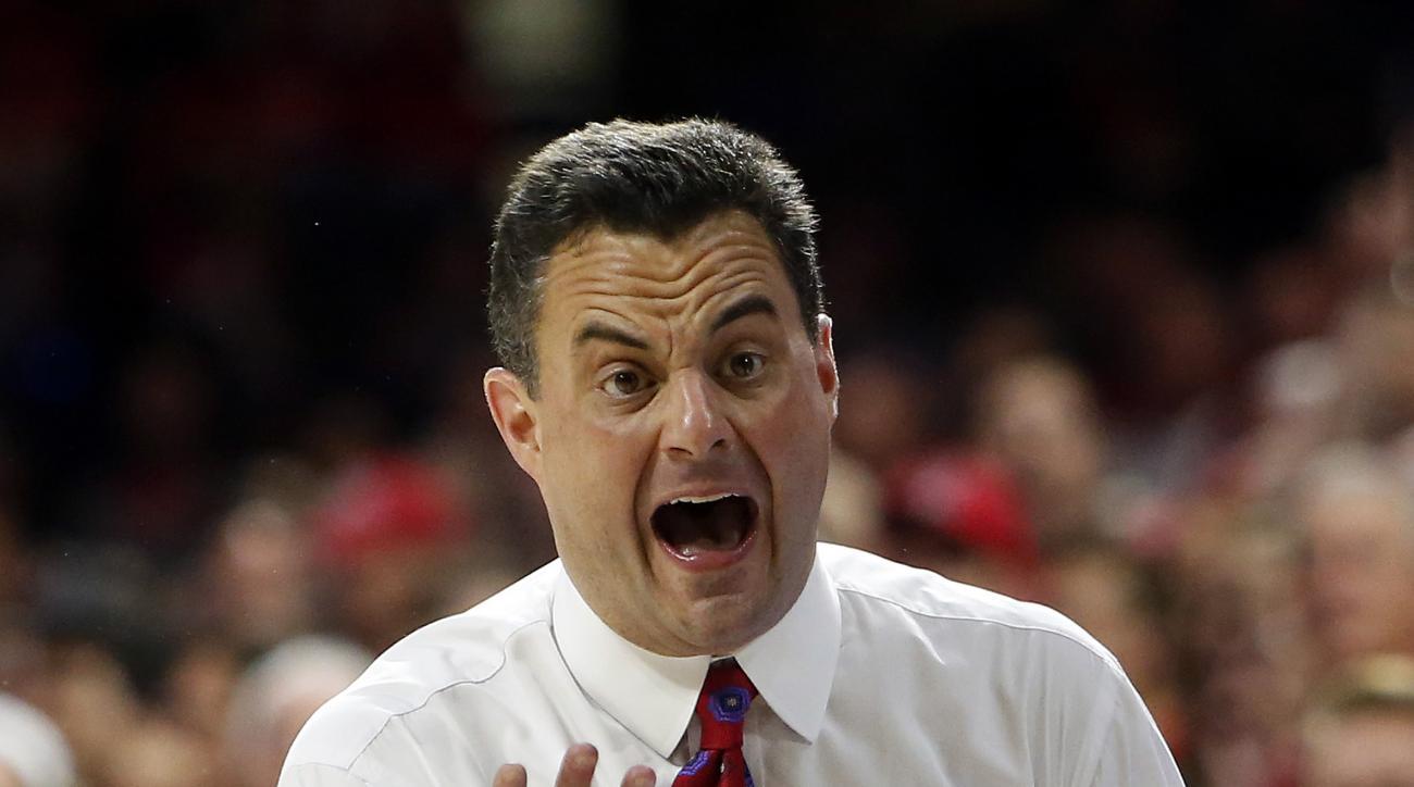 Arizona head coach Sean Miller reacts to a foul call during the second half of an NCAA college basketball game against California, Thursday, March 3, 2016, in Tucson, Ariz. (AP Photo/Rick Scuteri)