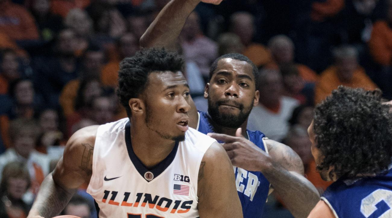FILE - In this Dec. 5, 2015, file photo, Illinois' Leron Black (12) looks to pass during an NCAA college basketball game against Western Carolina in Champaign, Ill. Prosecutors and an attorney for Black have agreed to a deal that would place him in a dive