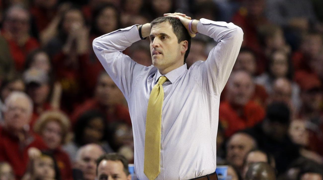 Iowa State's head coach Steve Prohm reacts during the second half of a college basketball game against Virginia in the regional semifinals of the NCAA Tournament, Friday, March 25, 2016, in Chicago. (AP Photo/Nam Y. Huh)
