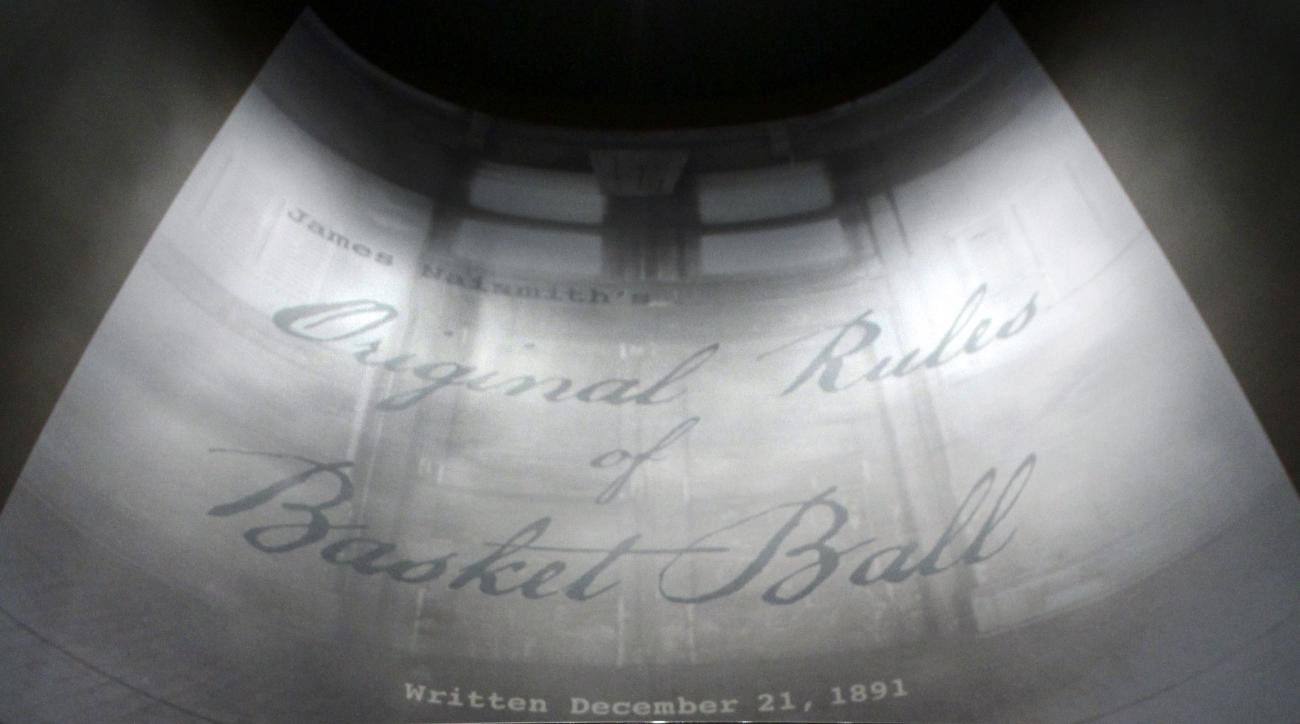 """James Naismith's original rules of """"Basket Ball"""" are displayed at the Nelson-Atkins Museum of Art on Friday, March 4, 2011, in Kansas City, Mo. David Booth and family purchased the rules at a Sotheby's auction for more than $4 million; after the museum di"""