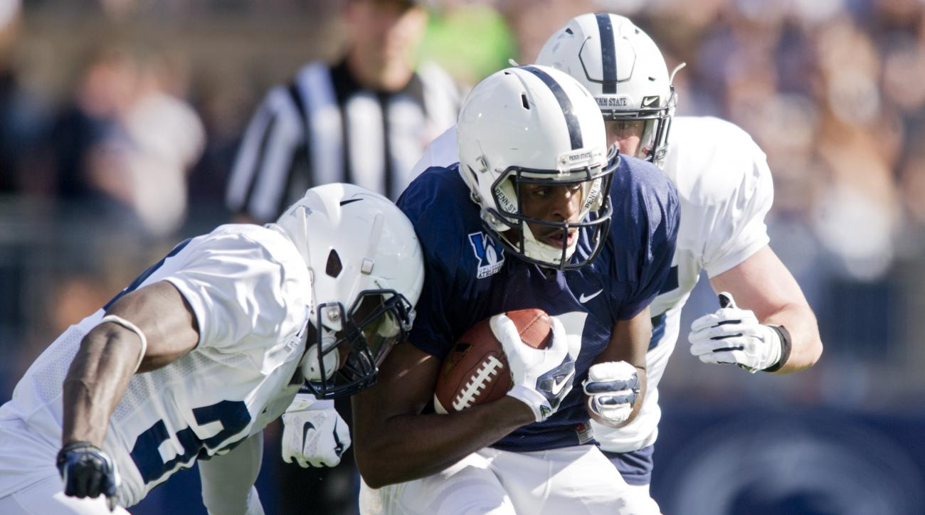 Penn State Blue team wide receiver Geno Lewis runs down the field during the NCAA college football team's spring football game Saturday, April 18, 2015, in State College, Pa. (Abby Drey/Centre Daily Times via AP) MANDATORY CREDIT; MAGS OUT