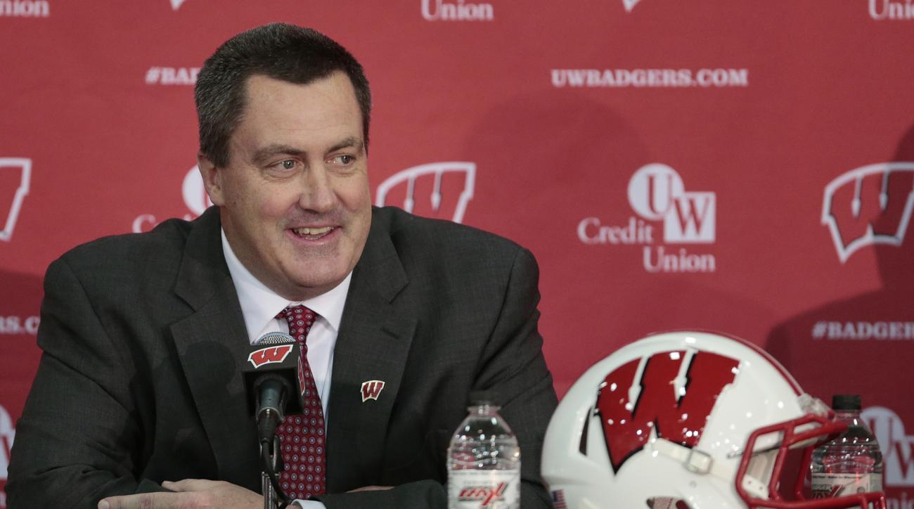 FILE - In this Dec. 17, 2014, file phtoo, Paul Chryst, Wisconsin's new football coach, speaks during an a NCAA college football news conference at the Nicholas-Johnson Pavilion in Madison, Wis. For all the talk about Wisconsin's offense under new coach Pa