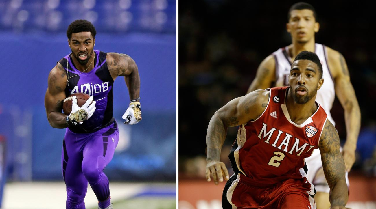 FILE - At left, in a Feb, 23, 2015, file photo, Miami of Ohio defensive back Quinten Rollins runs a drill at the NFL football scouting combine in Indianapolis. At right, in a Jan. 4, 2014, file photo,  Miami (Ohio) guard Quinten Rollins (2) dribbles the b