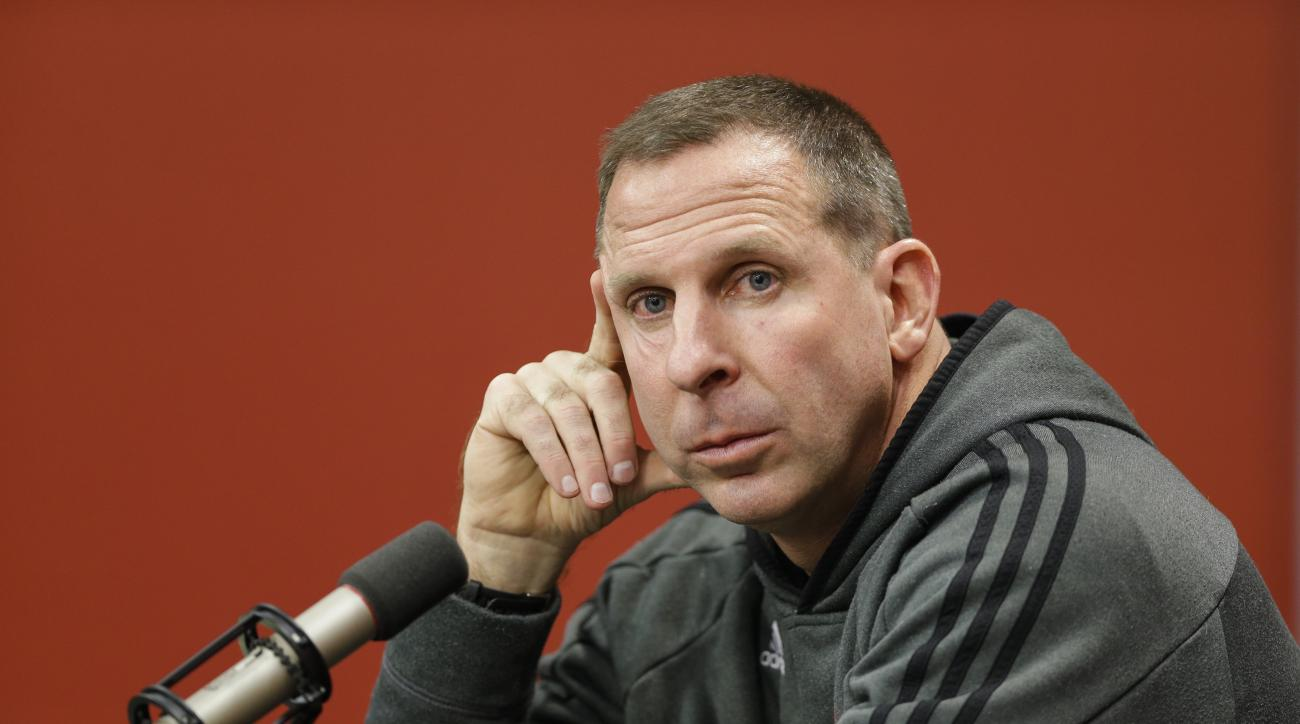 ADVANCE FOR DEC 28 2014, FILE  In this file photo from Nov. 24, 2014, Nebraska NCAA college football head coach Bo Pelini participates in a news conference in Lincoln, Neb. The Pelini story, in which Nebraska head football coach Bo Pelini was fired after