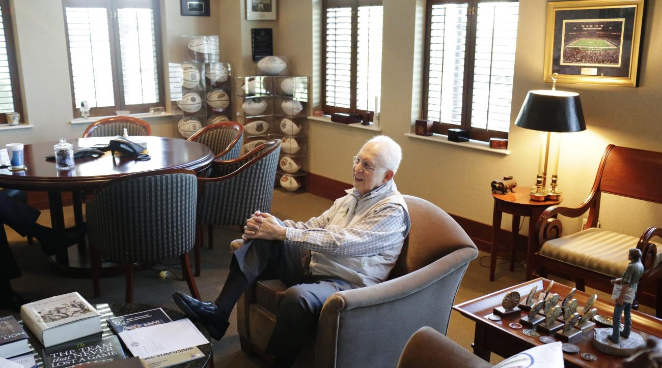 Southeastern Conference commissioner Mike Slive sits in his office during an interview Friday, May 22, 2015, in Birmingham, Ala. The Southeastern Conference agenda for its spring meetings leans heavily toward ensuring other leagues don't have any competit