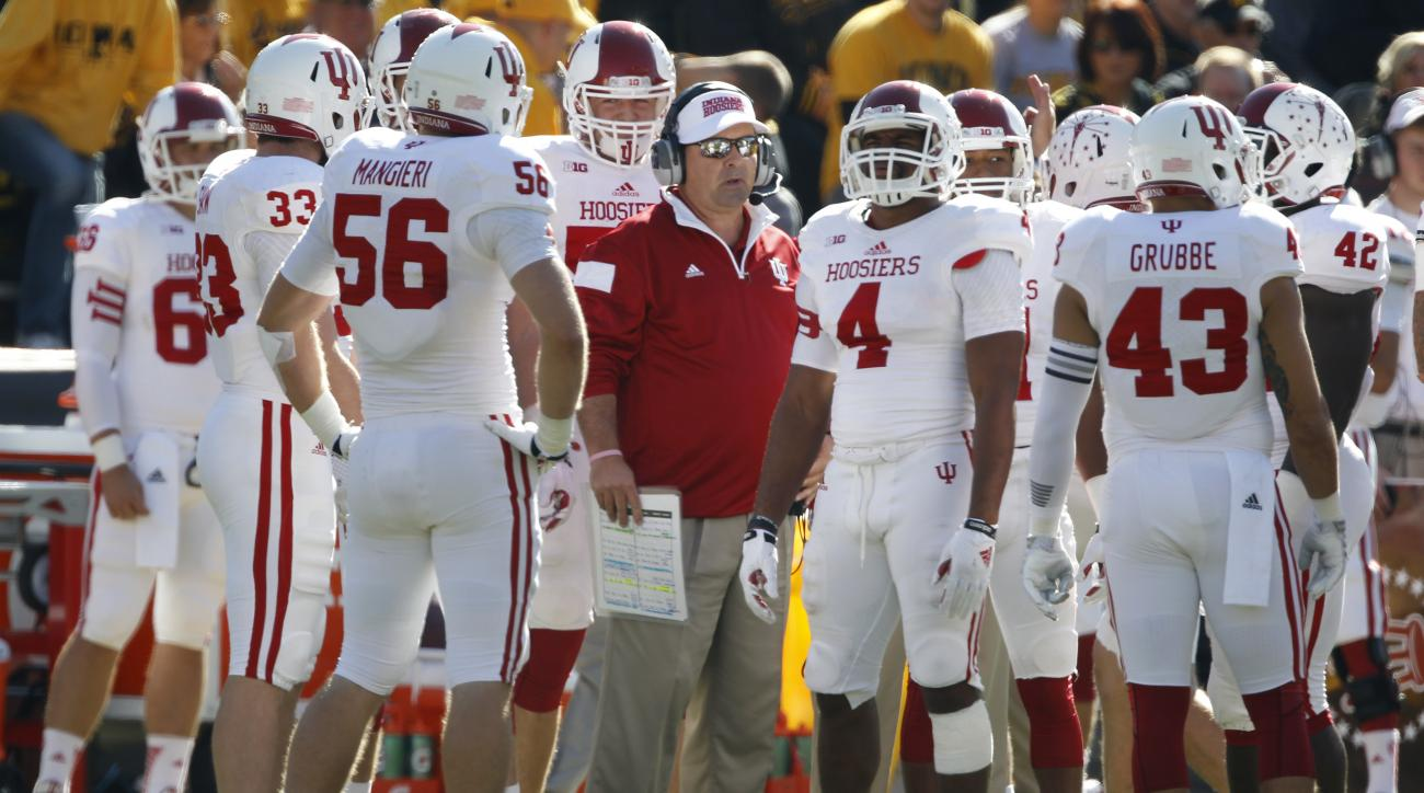 Indiana head coach Kevin Wilson, center, talks with his players during the first half of an NCAA college football game against Iowa, Saturday, Oct. 11, 2014, at Kinnick Stadium in Iowa City, Iowa. (AP Photo/Matthew Putney)