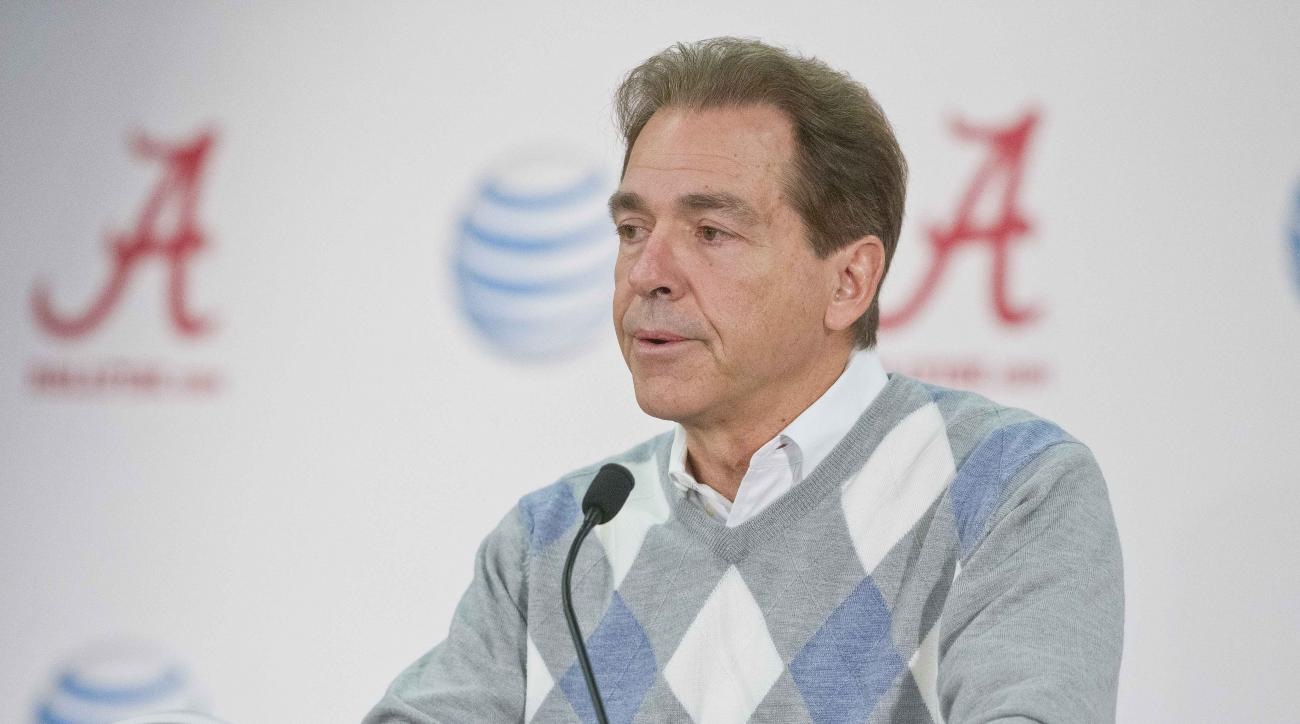 Alabama head coach Nick Saban talks about how proud he is of Amari Cooper, T.J. Yeldon and Landon Collins for declaring their decision to enter the NFL draft during a press conference, Friday, Jan. 9, 2015, in Tuscaloosa, Ala. Saban said that it speaks hi