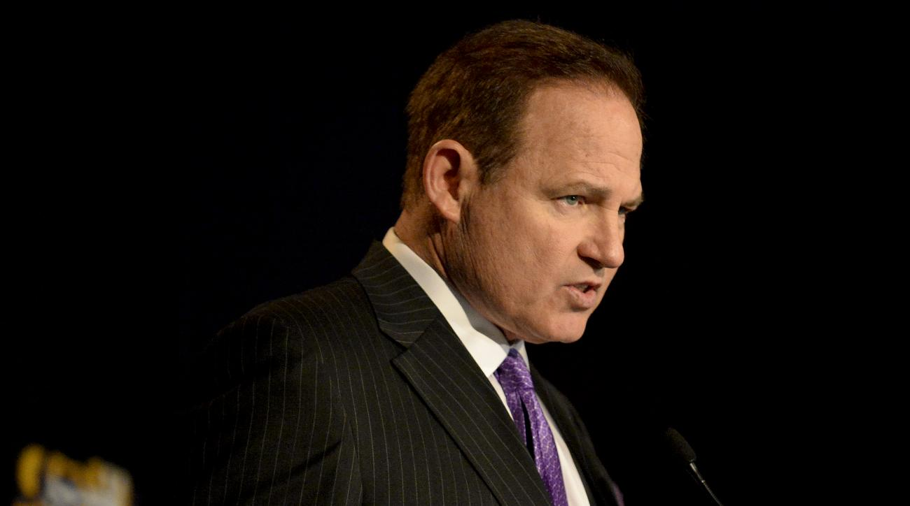 LSU head coach Les Miles speaks during a press conference at Louisiana State University's Athletic Administration Building in Baton Rouge, La., Wednesday, Jan. 14, 2015. (AP Photo/Hilary Scheinuk)