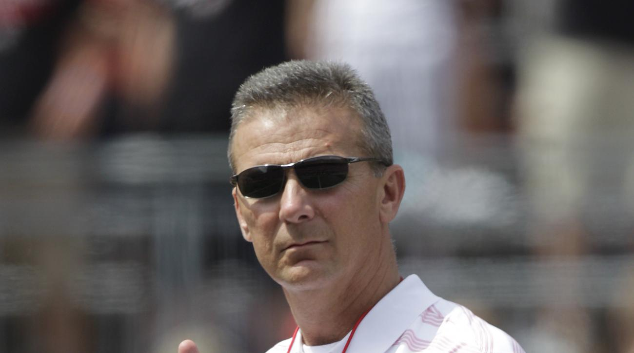 Ohio State head coach Urban Meyer during Ohio State's NCAA college football Spring game Saturday, April 18, 2015, in Columbus, Ohio. (AP Photo/Jay LaPrete)