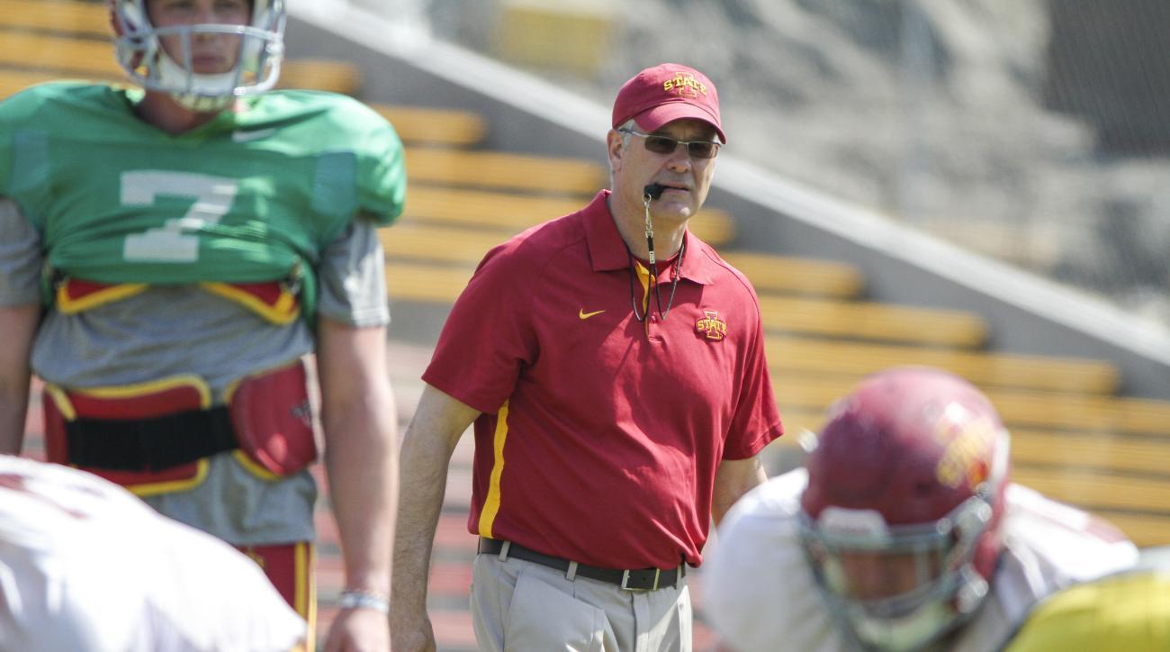 Iowa State head coach Paul Rhoads watches the Iowa State spring college football game, Saturday, April 11, 2015, in Ames, Iowa. (AP Photo/Justin Hayworth)