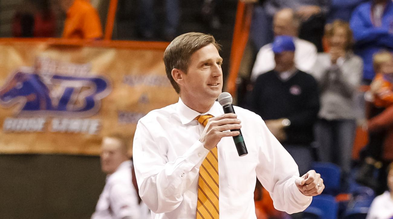 Boise State athletics director Mark Coyle talks to the crowd during halftime of an NCAA college basketball game against Boise State in Boise, Idaho, on Saturday, Dec. 14, 2013. Saint Mary's defeated Boise State 82-74. (AP Photo/Otto Kitsinger)