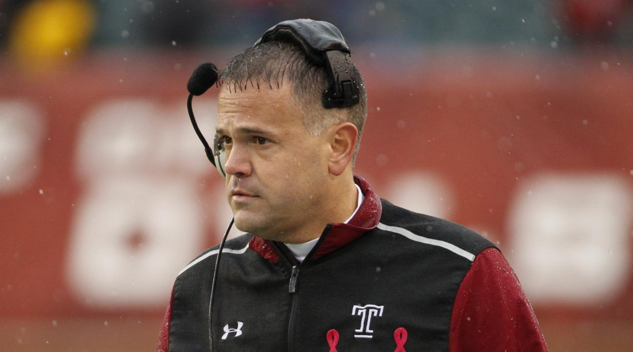 Temple head coach Matt Rhule looks on during the first half an NCAA college football game against the East Carolina Pirates, Saturday, Nov. 1, 2014, in Philadelphia. Temple won 20-10. (AP Photo/Chris Szagola)