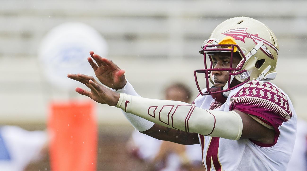 Florida State quarterback De'Andre Johnson calls a play in the first half of Florida State Garnet & Gold spring college football game in Tallahassee, Fla., Saturday, April 11,  2015.   (AP Photo/Mark Wallheiser)