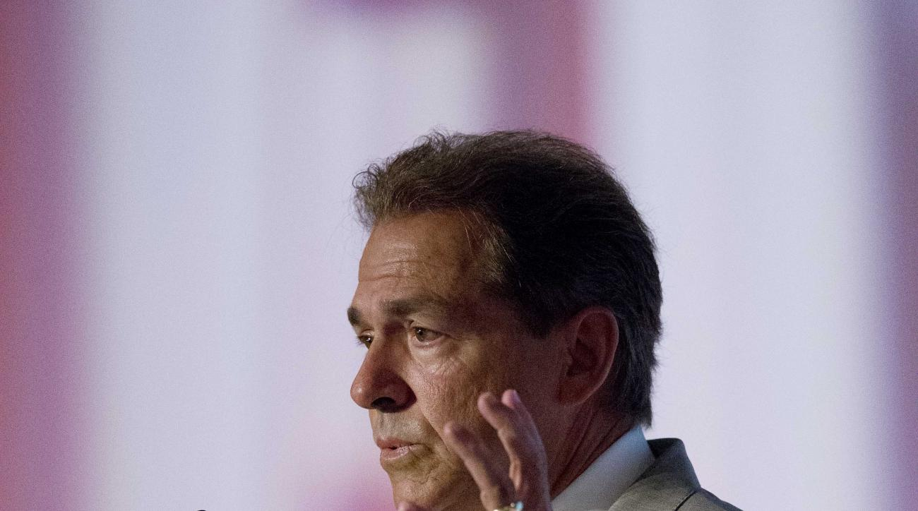 Alabama coach Nick Saban speaks to the media at the Southeastern Conference NCAA college football media days, Wednesday, July 15, 2015, in Hoover, Ala. (AP Photo/Brynn Anderson)