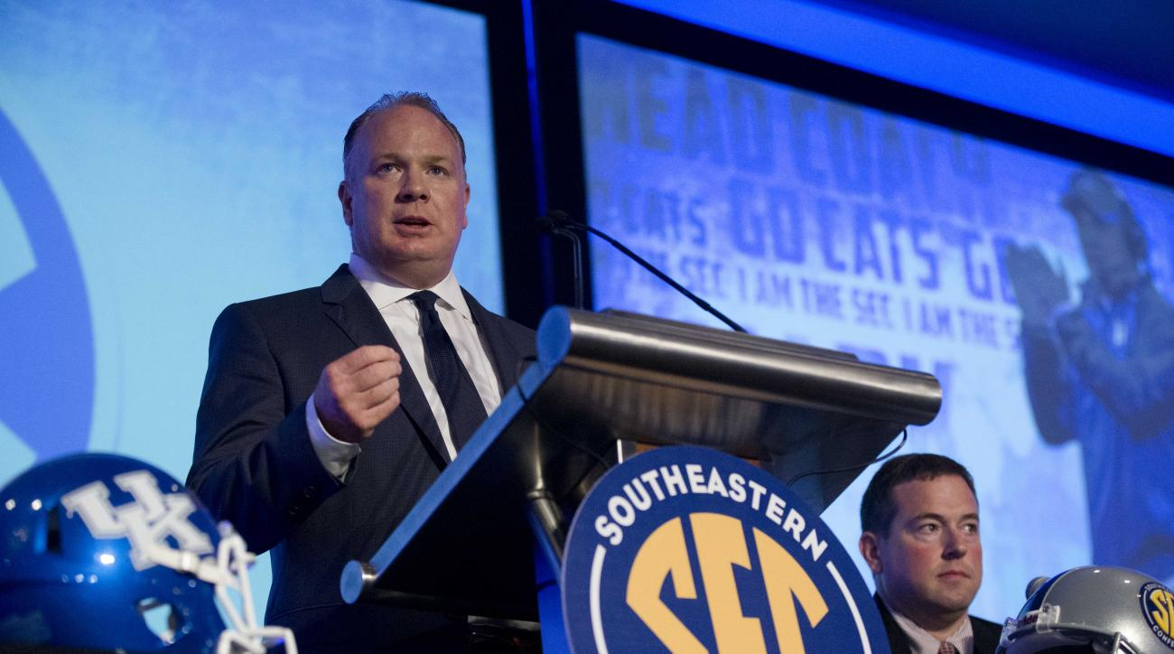 Kentucky coach Mark Stoops speaks to the media at the Southeastern Conference NCAA college football media days, Wednesday, July 15, 2015, in Hoover, Ala. (AP Photo/Brynn Anderson)