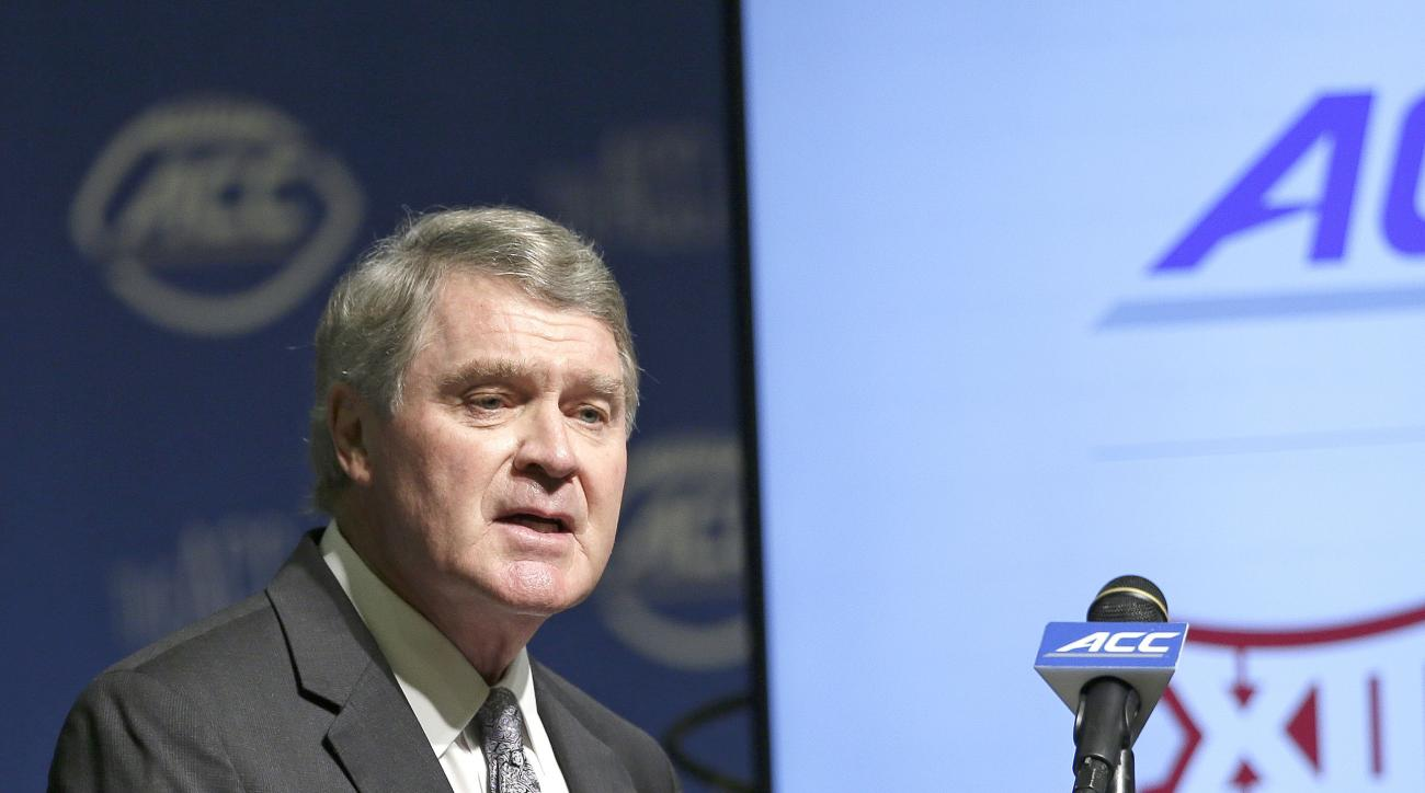 Atlantic Coast Conference Commissioner John Swofford makes remarks during the ACC football kickoff in Pinehurst, N.C., Monday, July 20, 2015. (AP Photo/Gerry Broome)