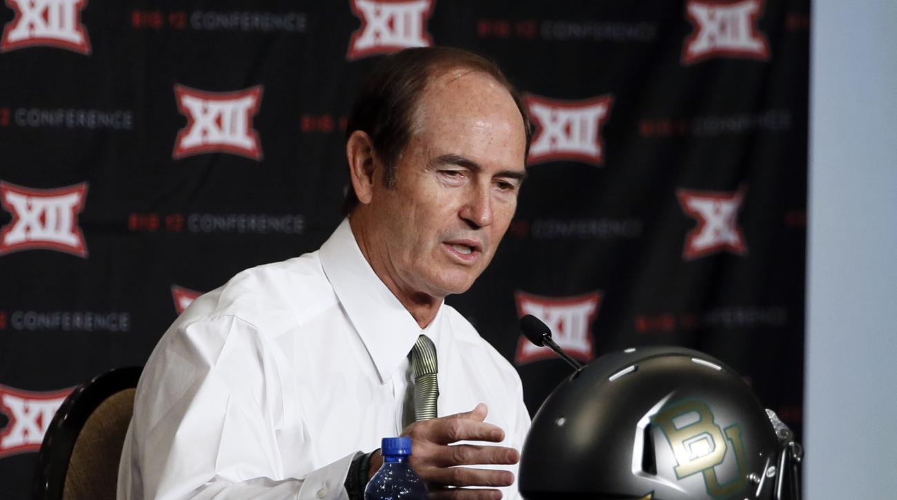 Baylor head coach Art Briles responds to questions about the team's newly designed helmet at the NCAA college Big 12 Conference Football Media Days Tuesday, July 21, 2015, in Dallas. (AP Photo/Tony Gutierrez)