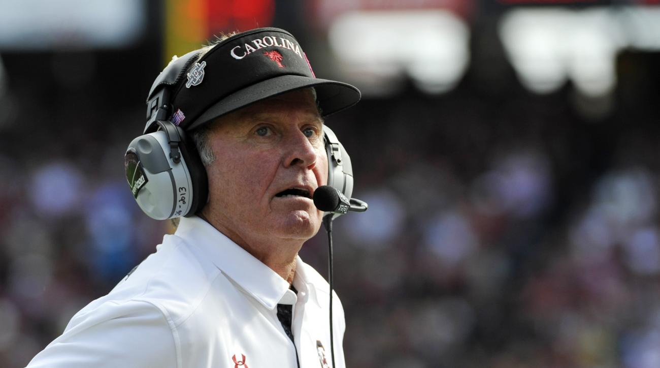 "FILE - In this Saturday, Nov. 2, 2013 file photo, South Carolina head coach Steve Spurrier looks on during the first half of an NCAA college football game against Mississippi State in Columbia, S.C.  Steve Spurrier has a message for all those ""enemies"" ou"