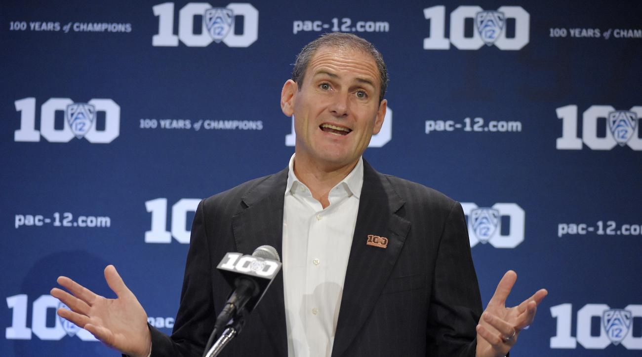 Larry Scott, Pac-12 Commissioner, speaks during Pac-12 Football Media Days, Thursday, July 30, 2015, in Burbank, Calif. (AP Photo/Mark J. Terrill)