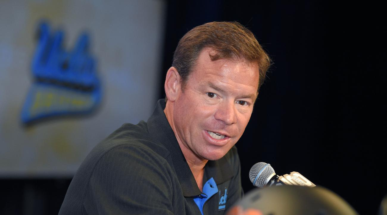 UCLA head coach Jim Mora speaks to reporters during NCAA college Pac-12 Football Media Days, Thursday, July 30, 2015, in Burbank, Calif. (AP Photo/Mark J. Terrill)
