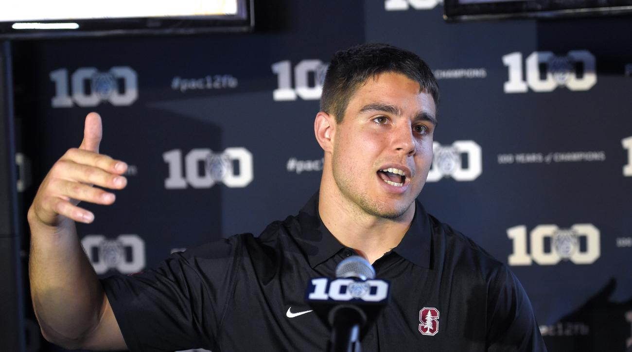 Stanford inside linebacker Blake Martinez speaks to reporters during NCAA college Pac-12 Football Media Days, Thursday, July 30, 2015, in Burbank, Calif. (AP Photo/Mark J. Terrill)