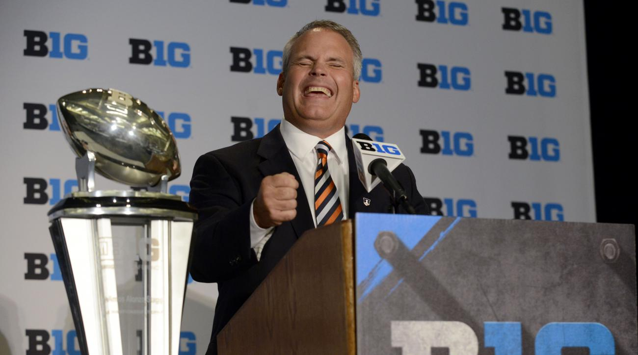 Illinois head coach Tim Beckman speaks to the media during the Big Ten Football Media Day Thursday, July 30, 2015, in Chicago. (AP Photo/Paul Beaty)