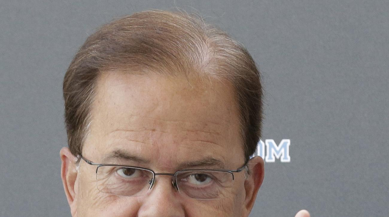 Duke coach David Cutcliffe makes remarks during the team's NCAA college football media day in Durham, N.C., Wednesday, Aug. 5, 2015. (AP Photo/Gerry Broome)