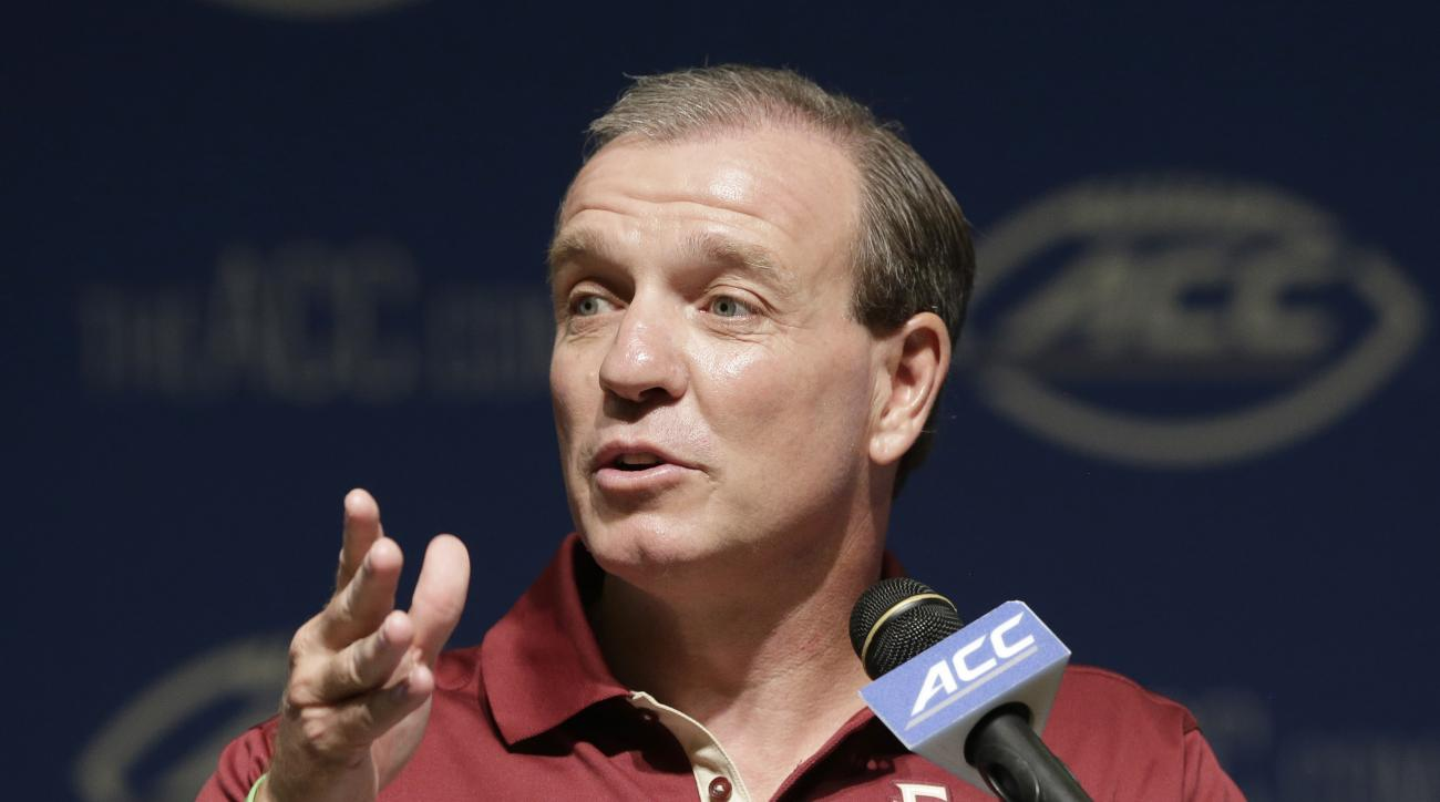 FILE - In this July 21, 2015, file photo, Florida State coach Jimbo Fisher responds to questions during the ACC NCAA college football kickoff in Pinehurst, N.C. Fisher begins his sixth season at Florida State with many unanswered questions about his team