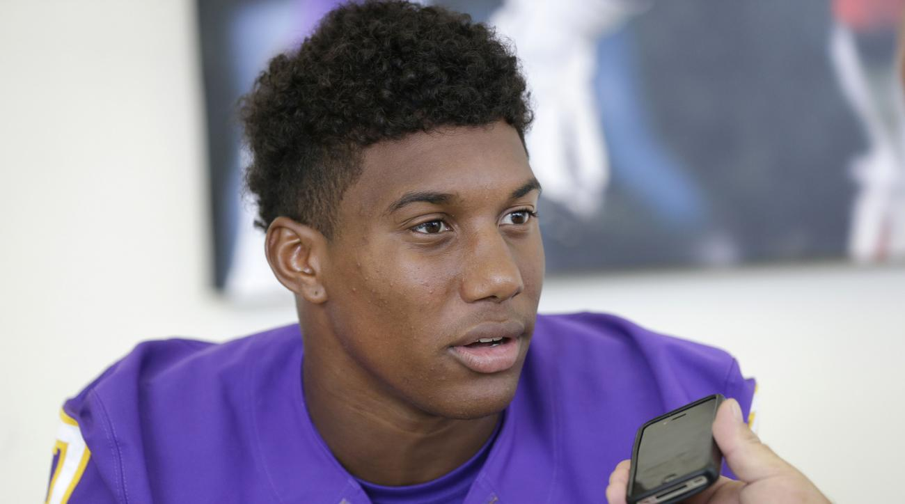 East Carolina inside receiver Isaiah Jones is interviewed during the team's NCAA college football media day in Greenville, N.C., Saturday, Aug. 8, 2015. (AP Photo/Gerry Broome)