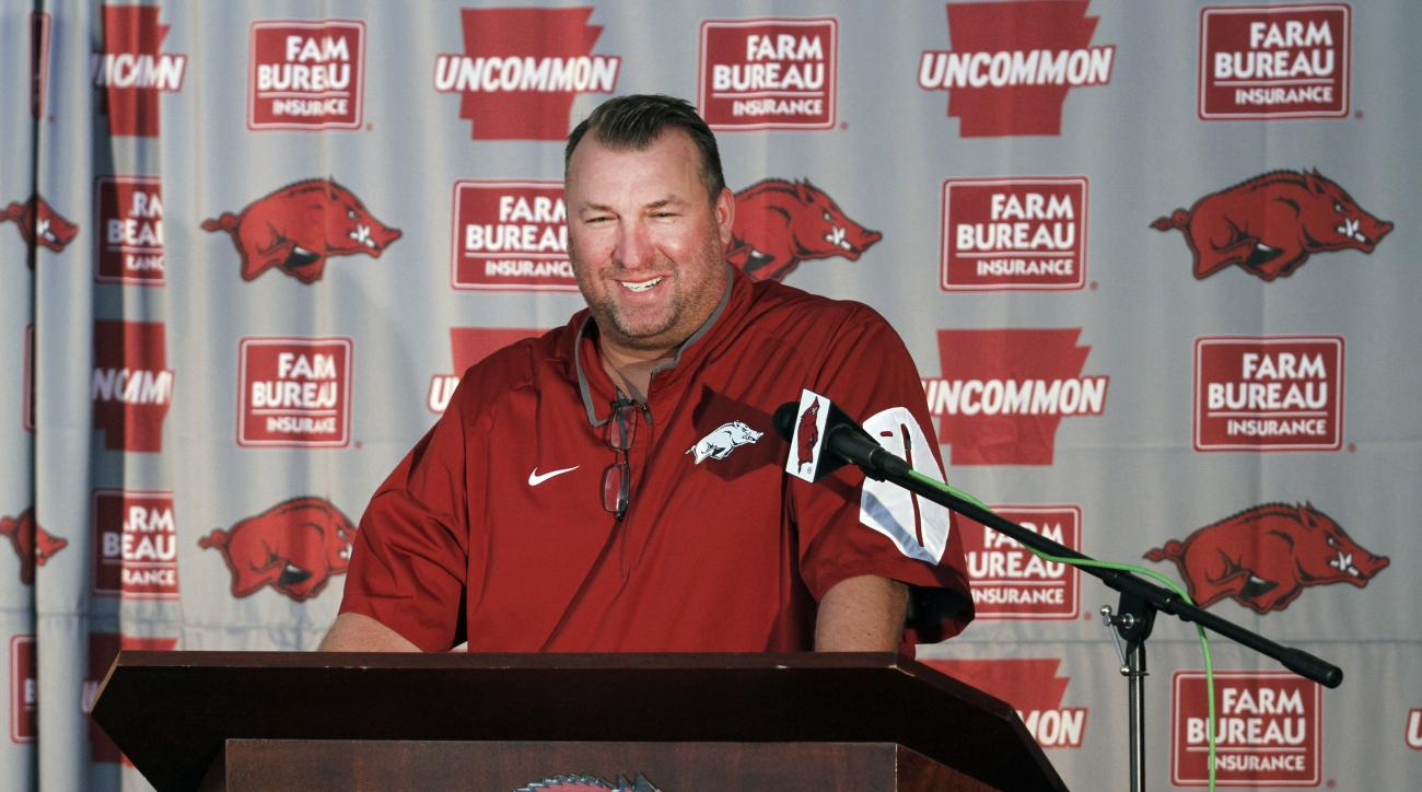 Arkansas head coach Bret Bielema addresses the team's annual NCAA college football media day event in Fayetteville, Ark., Sunday, Aug. 9, 2015. Arkansas is to kick off its season at home against University of Texas-El Paso on Sept. 5. (AP Photo/Samantha B