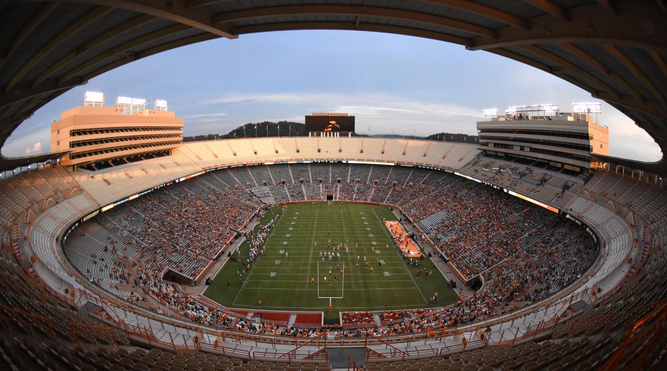 Fans fill Neyland Stadium for Tennessee football's open practice on Saturday, Aug. 15, 2015 in Knoxville, Tenn.. (Adam Lau/Knoxville News Sentinel via AP) MANDATORY CREDIT