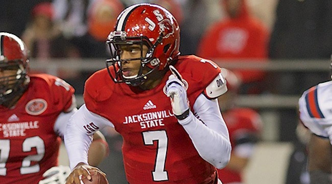 The 20th-ranked Gamecocks routed No. 18 Samford 55-14 in a first-round Football Championship Subdivision playoff game at Burgess-Snow Field...Jacksonville State Gamecocks quarterback Eli Jenkins (7).