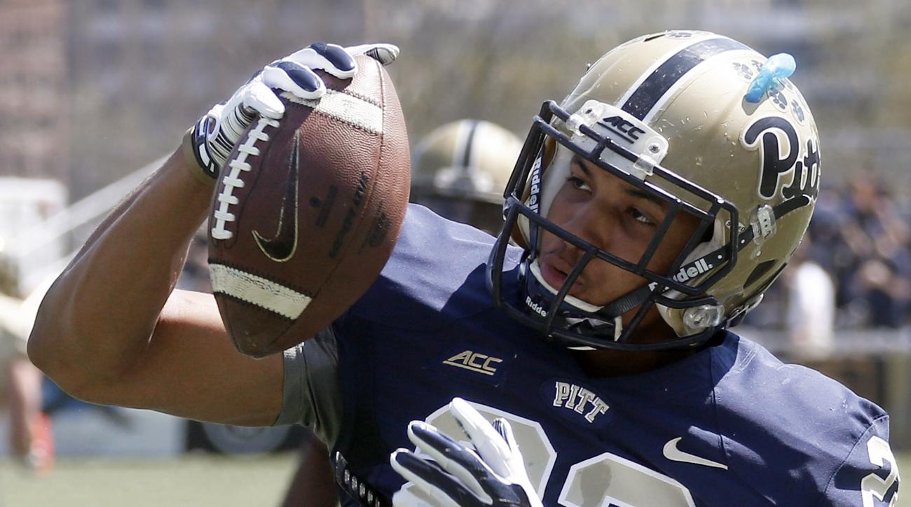 FILE - In this April 18, 2015, file photo, Pittsburgh wide receiver Tyler Boyd (23) makes a catch during warmups before the Blue Gold spring NCAA college football game in Pittsburgh. The Panthers are hoping running back James Conner, wide receiver Tyler B