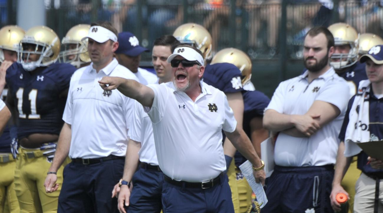 FILE - In this April 18, 2015, file photo, Notre Dame coach Brian Kelly shouts instructions to his players  during the Blue Gold game in South Bend, Ind. Brian Kelly is joining elite company entering his sixth season as Notre Dame coach.  (AP Photo/Joe Ra
