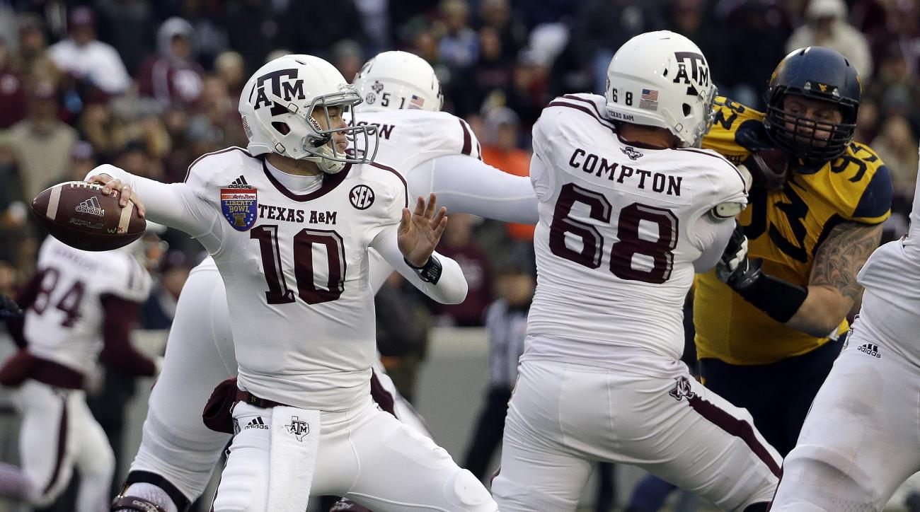 FILE- In this Dec. 29, 2014, file photo, Texas A&M quarterback Kyle Allen (10) passes during the second half of the Liberty Bowl NCAA college football game against West Virginia in Memphis, Tenn. Heisman Trophy winners no longer need preseason hype and th