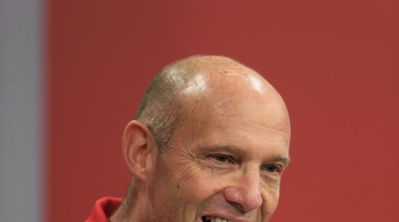 Nebraska NCAA college football head coach Mike Riley speaks during a news conference in Lincoln, Neb., Monday, Aug. 31, 2015. Riley's been in football coaching for 40 years, including three years at the helm of the San Diego Chargers. But he's never worke