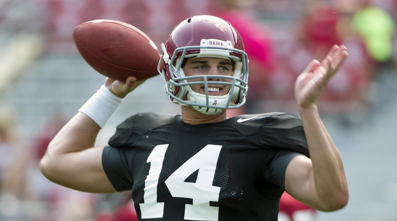 FILE - In this Aug. 9, 2015, file photo, Alabama quarterback Jake Coker sets back to throw the ball during an NCAA college football practice in Tuscaloosa, Ala. Alabama coach Nick Saban hasn't even given so much as a hint about who's his starting quarterb