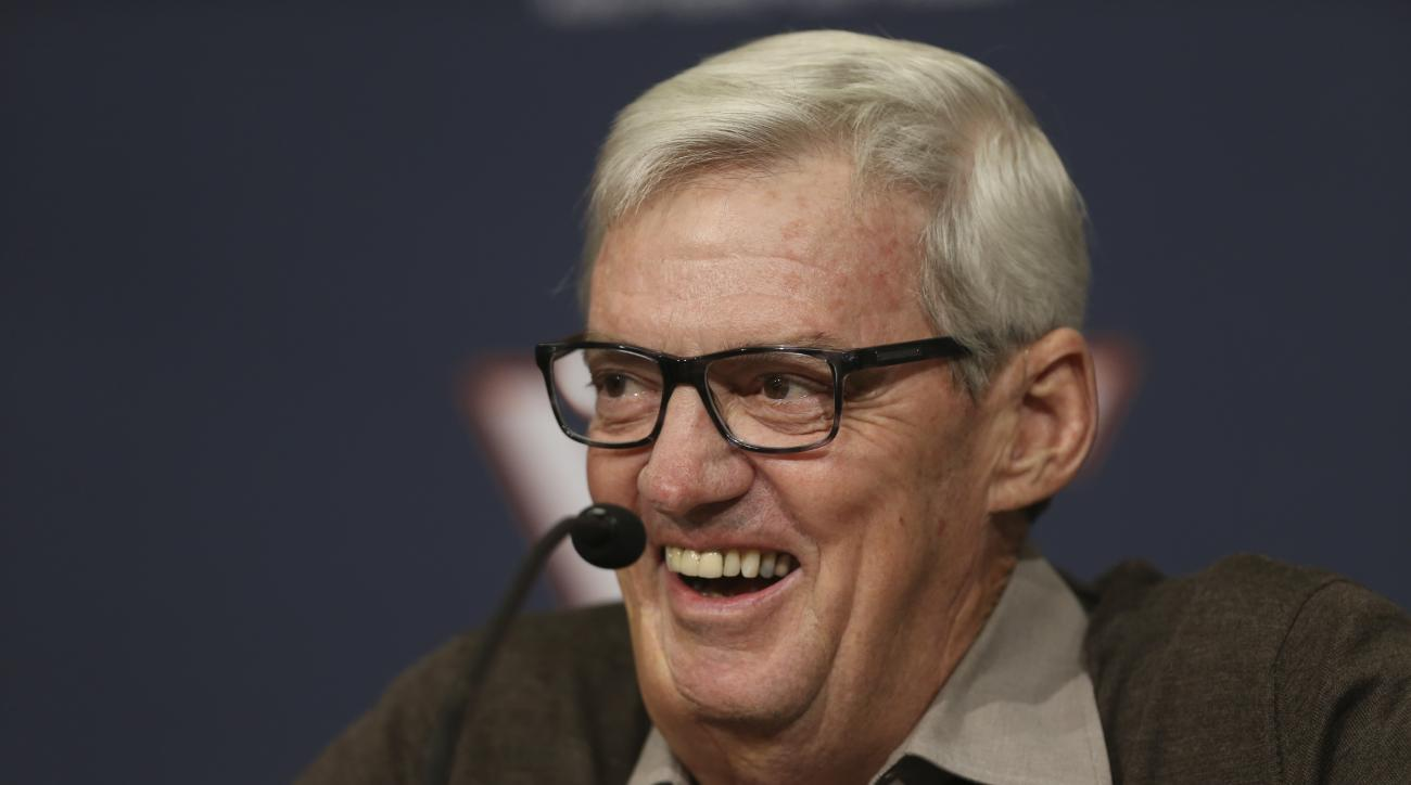 Virginia Tech NCAA college football head coach Frank Beamer talks about his coaching career at Virginia Tech during a press conference in Blacksburg Va., Monday Aug. 31, 2015. Virginia Tech will host defending national champion and No. 1 ranked Ohio State