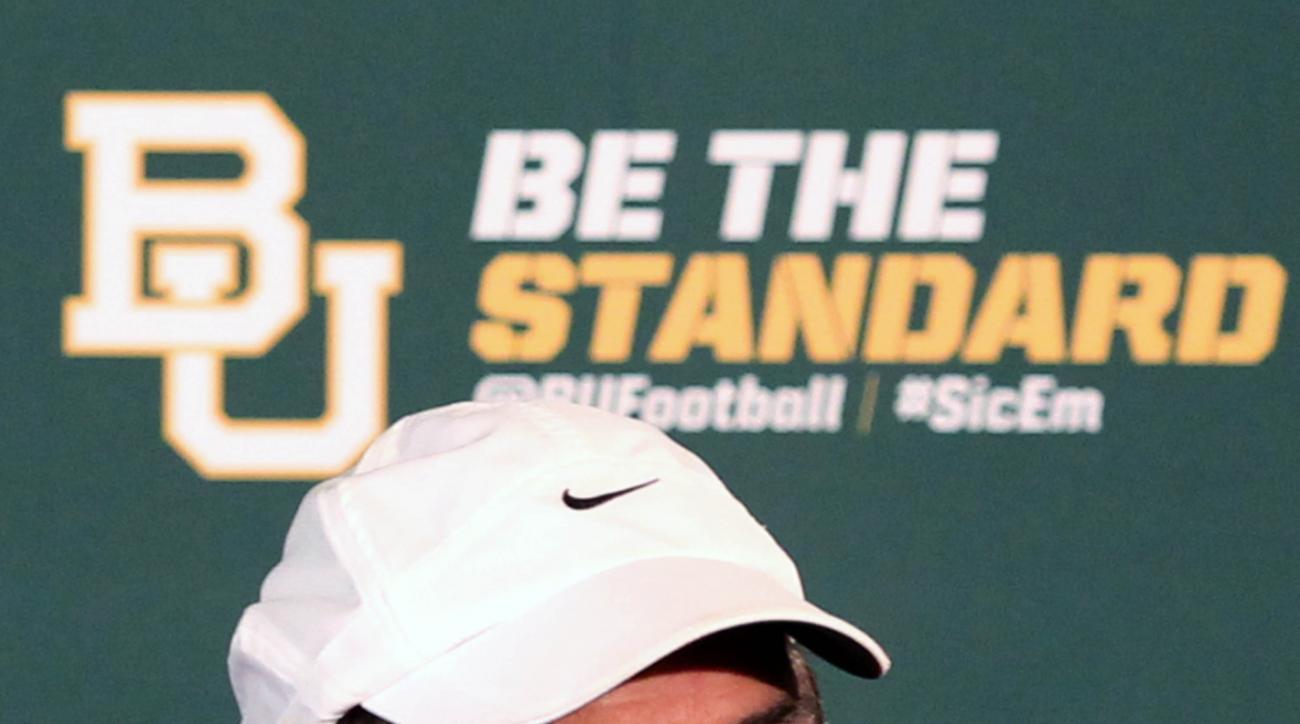 Baylor head football coach Art Briles addresses the media, Monday Aug. 31, 2015, in Waco, Texas. (Jerry Larson/Waco Tribune-Herald via AP) MANDATORY CREDIT