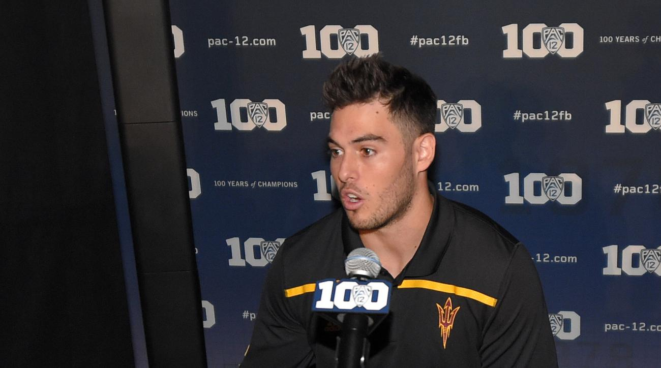 FILE - In this July 30, 2015, file photo, Arizona State quarterback Mike Bercovici speaks to reporters during Pac-12 Football Media Days in Burbank, Calif. Facing at least two seasons as a back-up, Bercovici could have easily transferrered without anyone