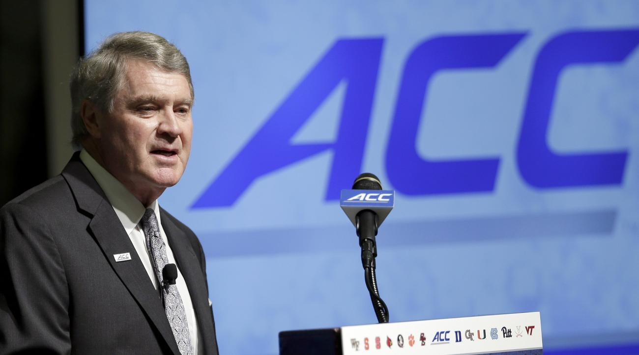 FILE - In this July 20, 2015, file photo, Atlantic Coast Conference Commissioner John Swofford makes remarks during the ACC NCAA college football kickoff in Pinehurst, N.C. The Atlantic Coast Conference is still figuring out whether it will start a dedica